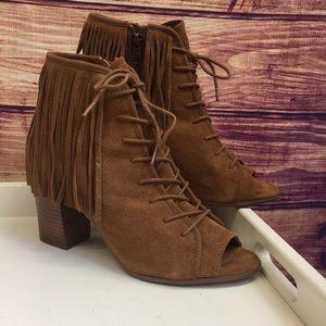 Steve Madden Shoes - Steve Madden Brown Suede Fringe Lace Up Booties